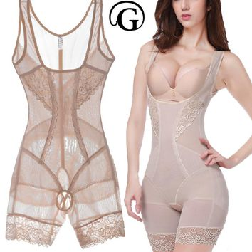 PRAYGER Lace Women Butt Lifter Sculpting Shapewear Full Body Control Corset Slimming Abdomen Lift Bras Shaper Charcoal Underwear
