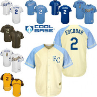 White blue grey Alcides Escobar Authentic Jersey , Men's #2 Kansas City Royals Gold Program 2015 World Series Champions FlexBase
