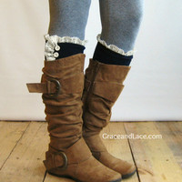 The Milly Lace - Navy Blue Cable-knit BOOT SOCKS w/ Ivory Lace Ruffle & Ivory buttons (item no. 5-15)