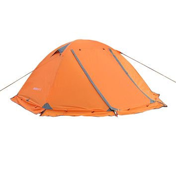 WoneNice Professional Camping Tent, 2/3 Person Family Double Layer Waterproof 3/4 Season Outdoor Dome Tent with Removable Rain Fly Orange