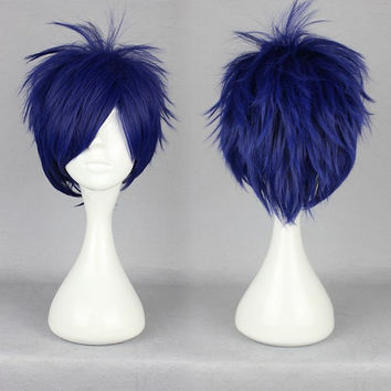 Free Rei Ryugazaki blue short cosplay wig,Colorful Candy Colored synthetic Hair Extension Hair piece 1pcs WIG-370D