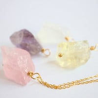 4 crystals set necklace,  Raw Crystal Quartz Silver/Gold/Brass Long Necklace, simple, natural, gem, rose crystal unique, rustic