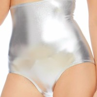 Silver Metallic High Waist Shorts