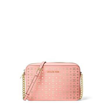 Jet Set Travel Large Perforated-Leather Crossbody | Michael Kors