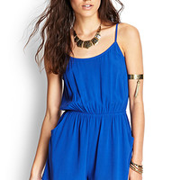 FOREVER 21 Cutout Back Textured Romper Royal