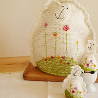 Crochet Sheep Egg Cozy, Egg warmers- Set of 2