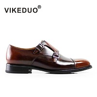 Handmade male monk shoe Luxury fashion Wedding Party Office Orange hasp Genuine Flat Men's leather Shoes
