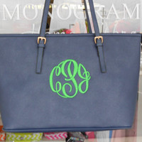Large Tote Purse Monogram Font Shown MASTER CIRCLE