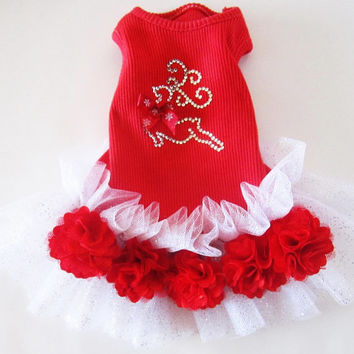Red Sparkle Holiday Dress TuTu  Size Small Red Reindeer Doggie bling