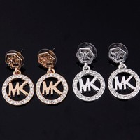 MK Stylish Ladies Shiny Jewelry Hot Sale Stylish Diamonds Earrings Set Necklace Accessory I