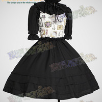"""Perfume Bottle"" Classical Lolita Half Length Sleeves Dress&Ruffle Collar*3colors Instant Shipping"
