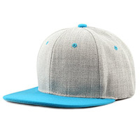 The Hat Depot 1300HG Plain Heather Grey Snapback Cap (Tuquoise)