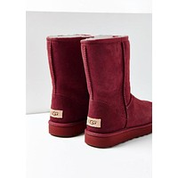 Tiktoki1 UGG Winter Trending Popular Women Men Warm Wool Fur High Snow Boots Burgundy