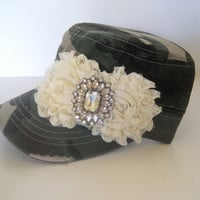 Green Camouflage Cadet Military Army Hat with Ivory Chiffon Flowers and Gorgeous Champagne Rhinestone Brooch Accent