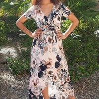 Dance The Night Away Pink Floral Wrap High Low Maxi Dress