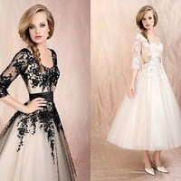 black/ivory pretty Gown Evening Cocktail Party Prom Formal Dress Stock Size 6-16