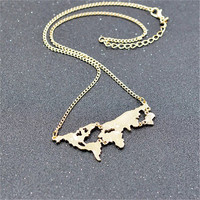 FREE SHIPPING World map necklace - gold