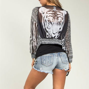 Tiger Print Asymmetric Cardigan in Black & Gray