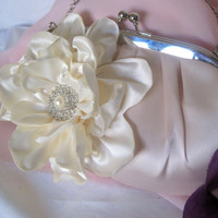 Gorgeous Blush Pink Satin Clutch with Beautiful Ivory Open Rose with a Rhinestone and Pearl Accent Bride, Bridesmaid, Mother of the Bride