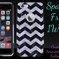 iPhone 6 Case - OtterBox Commuter Series - Retail Packaging - 4.7 iPhone 6 Glitter Black Small Chevron Silver/Black