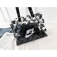 ADIDAS x NIKE x LV popular leisure handbag for women fashionable printed transparent two-piece shopping bag LV Black