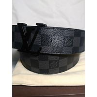 LOUIS VUITTON Authentic Damier Graphite Checkered Belt M9808 120/48 NIB