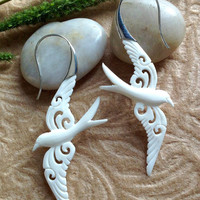 """Tribal Earrings, """"Love Dove"""" Natural, Bone, Sterling Silver Posts, Handcrafted"""