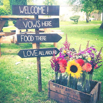 Rustic Wooden Wedding Sign - Four Tier Set - Southern Weddings - (WD-32)