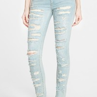 Women's BLANKNYC 'Dreamathon' Destructed Skinny Jeans (Blue)