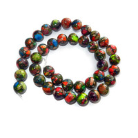 10 mm Multicolor Mosaic Round Impression Jasper Beads, 40 Beads