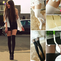 Nude Black or White Over the Knee Stretch Pantyhose