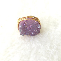 Purple Druzy Ring, Wire Wrapped Druzy Ring, Gold Wire Ring, Crystal Ring, Agate Druzy, Cocktail Ring, Boho Ring, Bohemian, Gypsy Jewelry