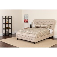 Cartelana Tufted Upholstered Bed with Gold Accent Nail Trim