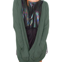 Dragonfly Cardigan Olive Gray