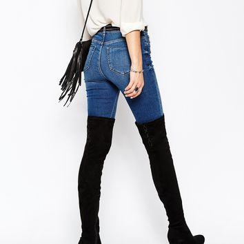 ASOS KEY TO MY HEART Lace Up Over the Knee Boots