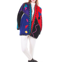 80s Vintage Wool Color Block Jacket Colorful Abstract Geometric Applied Patch Dolman Oversized Winter Coat Women Size XL
