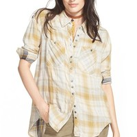 Women's Free People Faded Plaid Double Cloth Shirt,