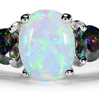 8mm 3-stone Oval White Opal & Mystic Topaz CZ in Sterling Silver Ring SZ 8