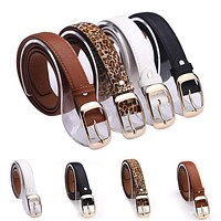 Women Faux Leather Animal Print/Solid Belt