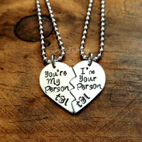 You're My Person I'm Your Person Hand Stamped Necklace Gift Set, Friends Forever, Gift for Best Friends - Sisters - Mom - Cousins - Couples
