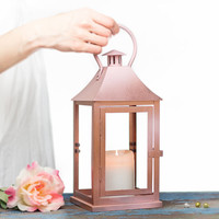 Rose Gold effect Outdoor Lantern Centerpiece - Pink Gold Candle Holder - Aisle Wedding, Party, Home Decoration