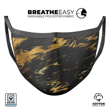 Black & Gold Marble Swirl V5 - Made in USA Mouth Cover Unisex Anti-Dust Cotton Blend Reusable & Washable Face Mask with Adjustable Sizing for Adult or Child