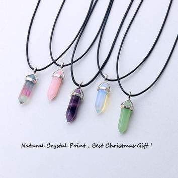 2016 New Arrive Natural Opal & Amethyst Stone Pendant Quartz Crystal Jewelry With Black Leather Chains Hexagon Necklace Pendant