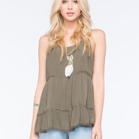 Socialite Tiered Womens Tunic Tank Olive  In Sizes