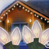 Clear C7 Christmas Lights - 25 Twinkling Bulbs On Green Wire
