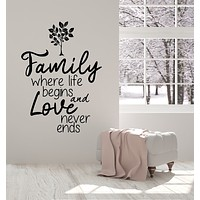 Vinyl Wall Decal Family Love Inspiring Quote Tree Home Decor Stickers Mural (g2536)