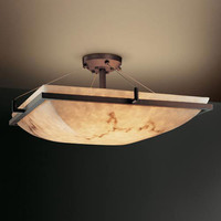 Justice Design Group FAL-9782-25-DBRZ-LED-5000 LumenAria 24-Inch Square 5000 Lumen LED Semi-Flush Mount with Ring