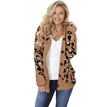 Brown Long Sleeve Button-up Hooded Leopard Print Cardigan