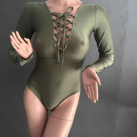 2016 Spring Lace Up Outfit Tops Sexy Short Jumpsuits Long Sleeve Bandage Rompers Ladies One Piece