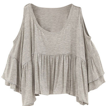 Grey Cutout Shoulder Pleated Tee